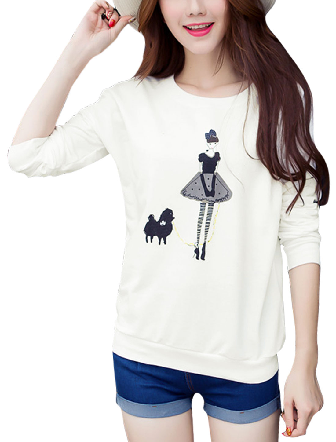 Women Long Sleeves Round Neck Cartoon Pattern Sweatshirt White M