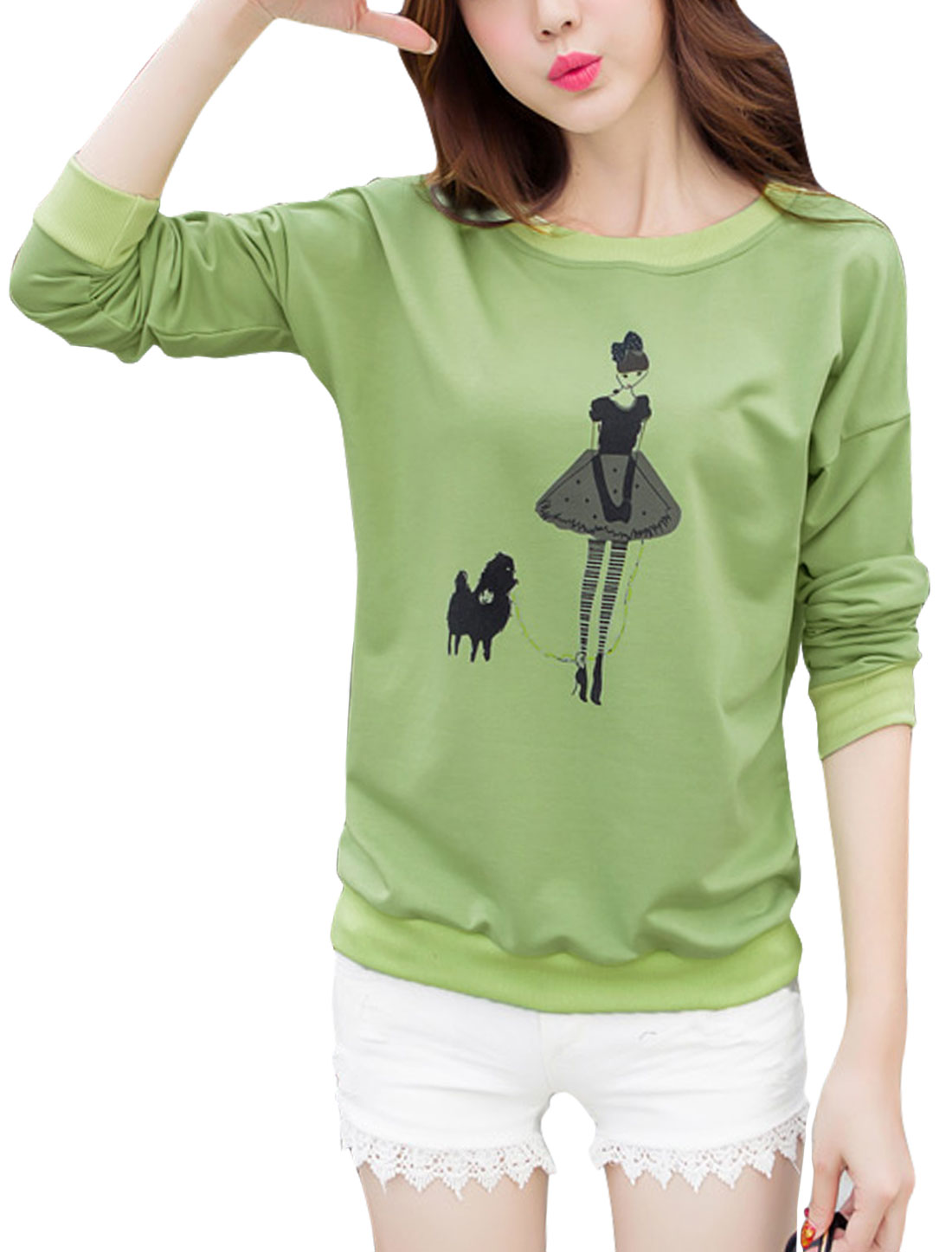 Women Long Sleeves Round Neck Cartoon Pattern Sweatshirt Green M