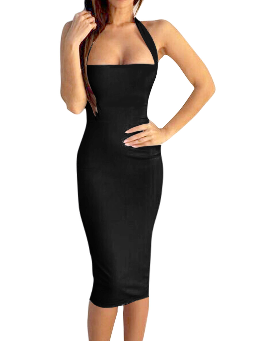 Women Halter Neck Sleeveless Open Back Sheath Dress Black L