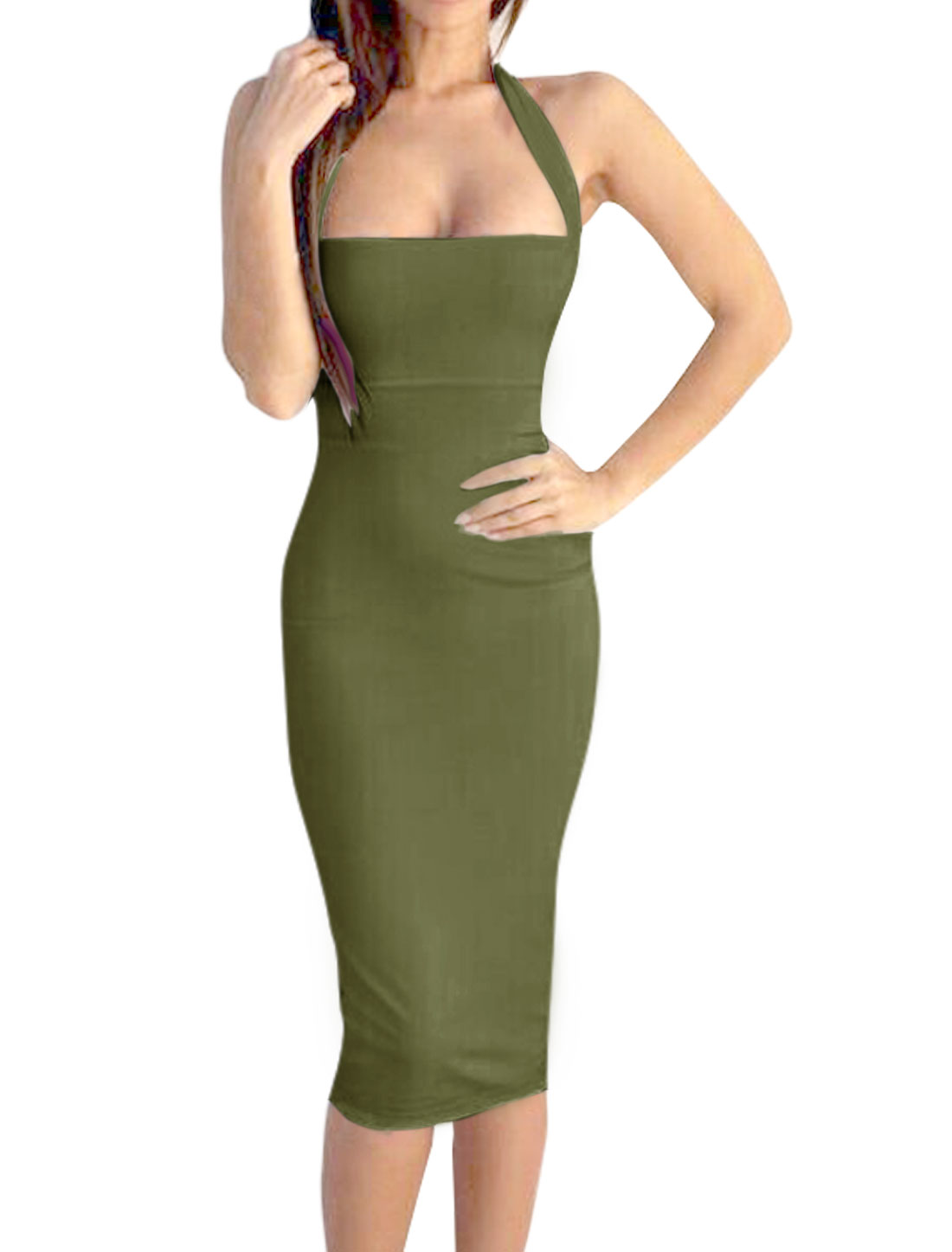 Women Halter Neck Sleeveless Open Back Sheath Dress Green L