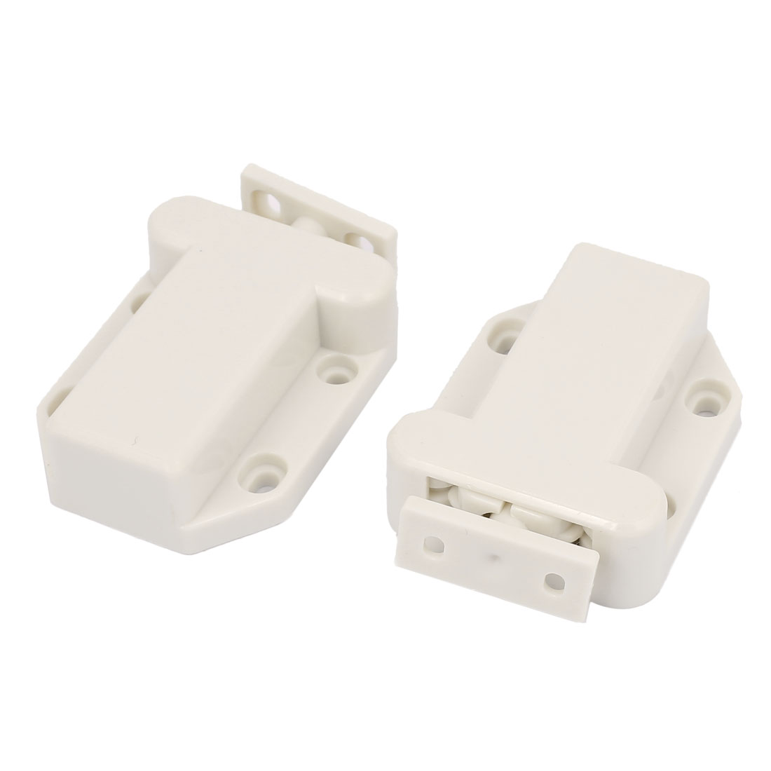 Cabinet Door Non-Magnetic Touch Latch Push Catch White 2PCS