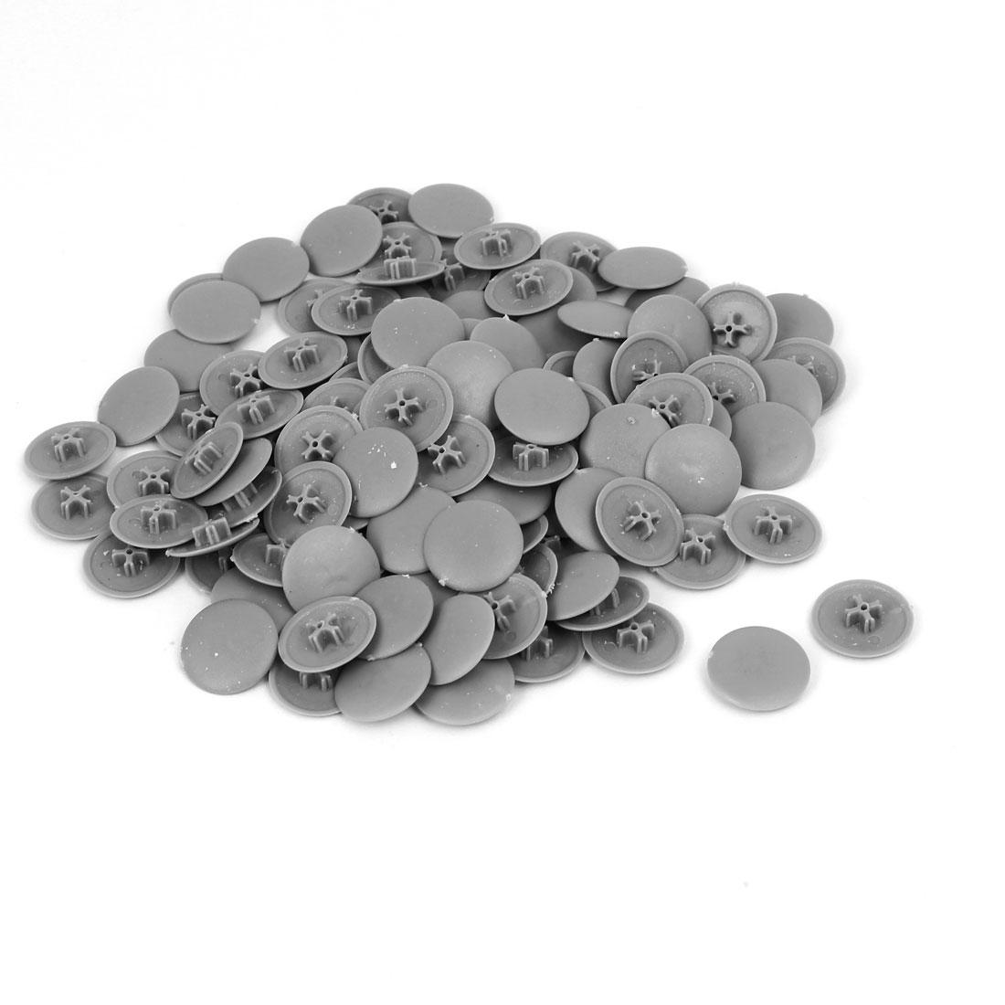 6mm Phillips 17mm Head Dia Screw Plastic Cap Cover Gray 100PCS