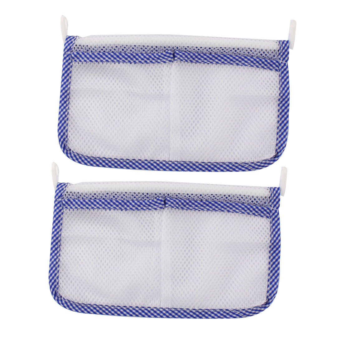 Home Refrigerator 2 Pocket Space-saving Hanging Hook Storage Mesh Bag Pouch Blue 2pcs
