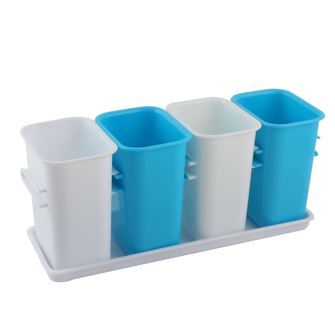 Home Kitchen PP 4 Compartment Chopsticks Spoon Tableware Storage Box Holder w Tray