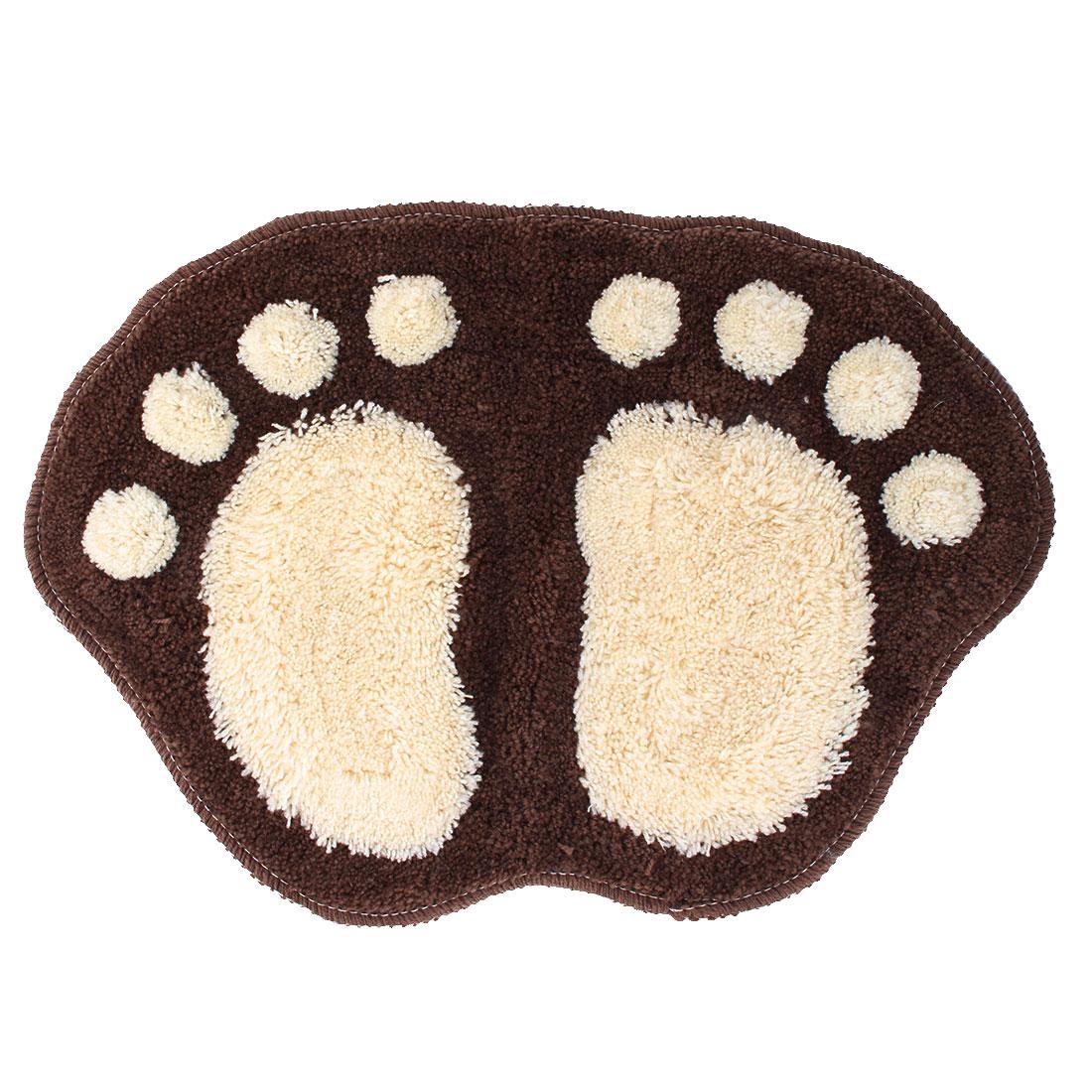 Bathroom Washroom Footprint Pattern Water Absorb Non-slip Floor Mat Cushion Rug Coffee Color