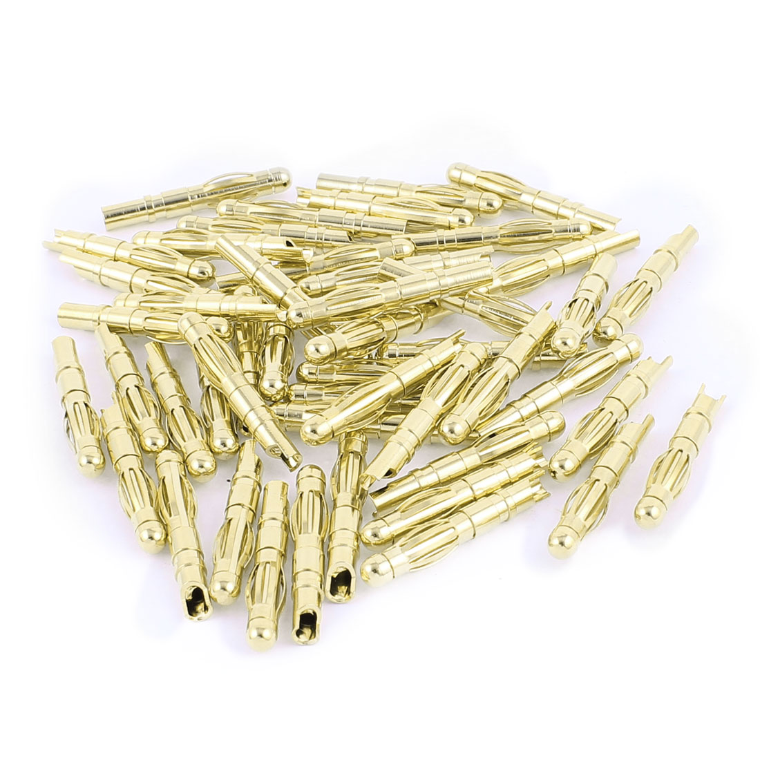 49 Pcs Gold Tone Copper Hemihedral 4mm Banana Jack Connector