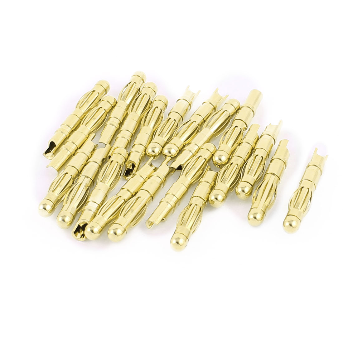 20 Pcs Gold Tone Copper Hemihedral 4mm Banana Jack Connector