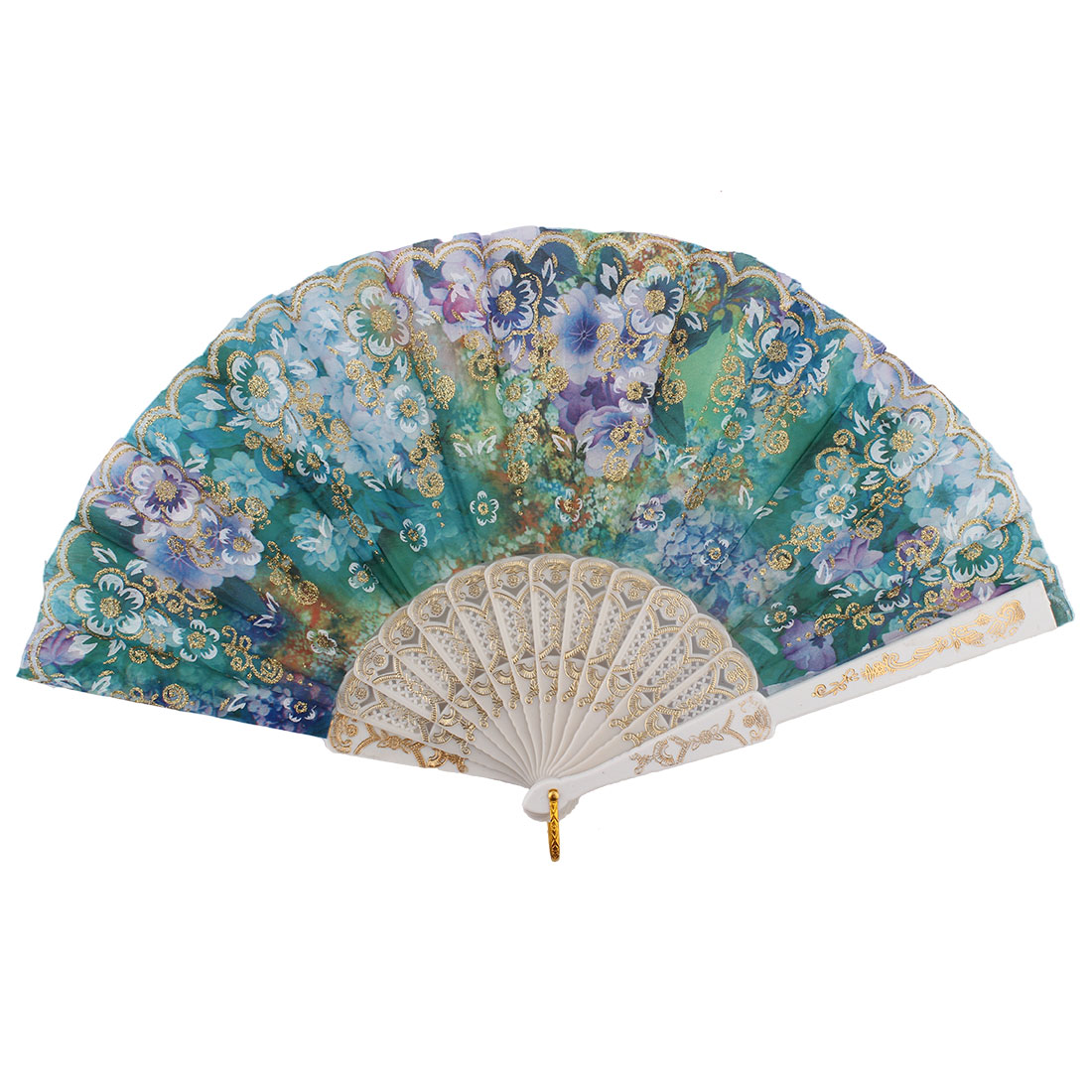Chinese Style Ladies Colorful Flower Print Pattern Decor Plastic Ribs Folding Hand Fan