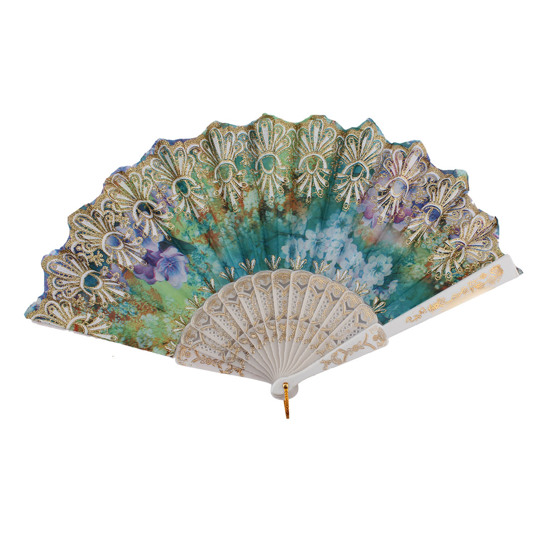Chinese Style Colorful Flower Print Pattern Decor Plastic Ribs Nylon Fabric Folding Hand Fan