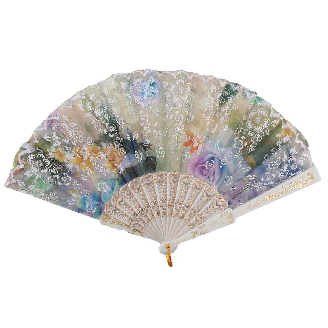 Chinese Style Colorful Flower Print Pattern Decor Plastic Ribs Nylon Fabric Summer Folding Hand Fan