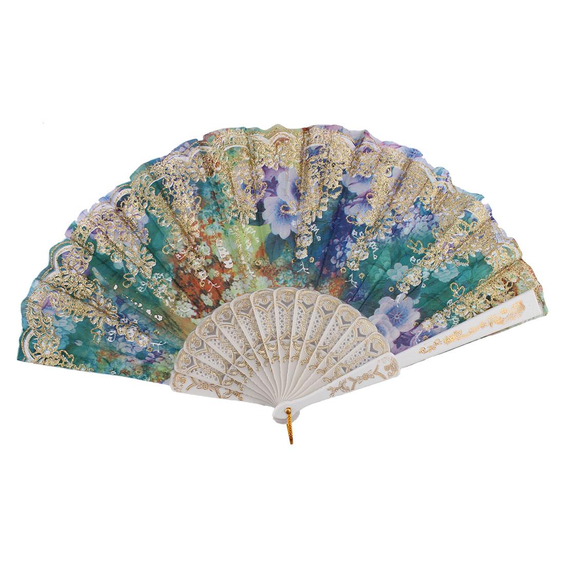 Chinese Style Glitter Powder Flower Pattern Wedding Decor Plastic Ribs Frame Nylon Fabric Folding Hand Fan