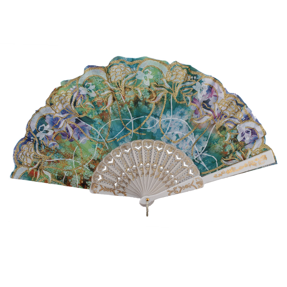 Chinese Style Wedding Party Colorful Flower Print Pattern Decor Plastic Ribs Summer Folding Hand Fan