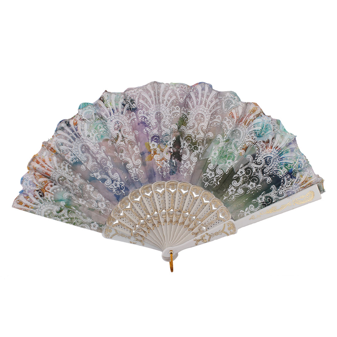 Chinese Style Wedding Party Colorful Flower Print Pattern Decor Plastic Ribs Folding Hand Fan
