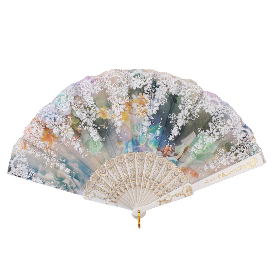 Chinese Style Glitter Powder Flower Pattern Wedding Decor Plastic Frame Nylon Fabric Folding Hand Fan