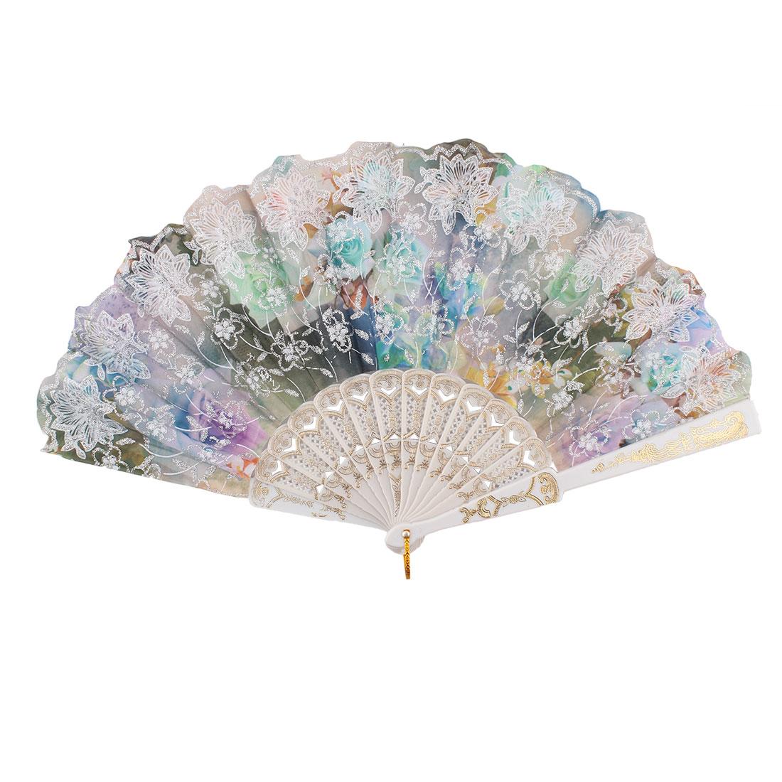 Chinese Style Glitter Powder Flower Pattern Wedding Decor Plastic Frame Nylon Fabric Summer Folding Hand Fan