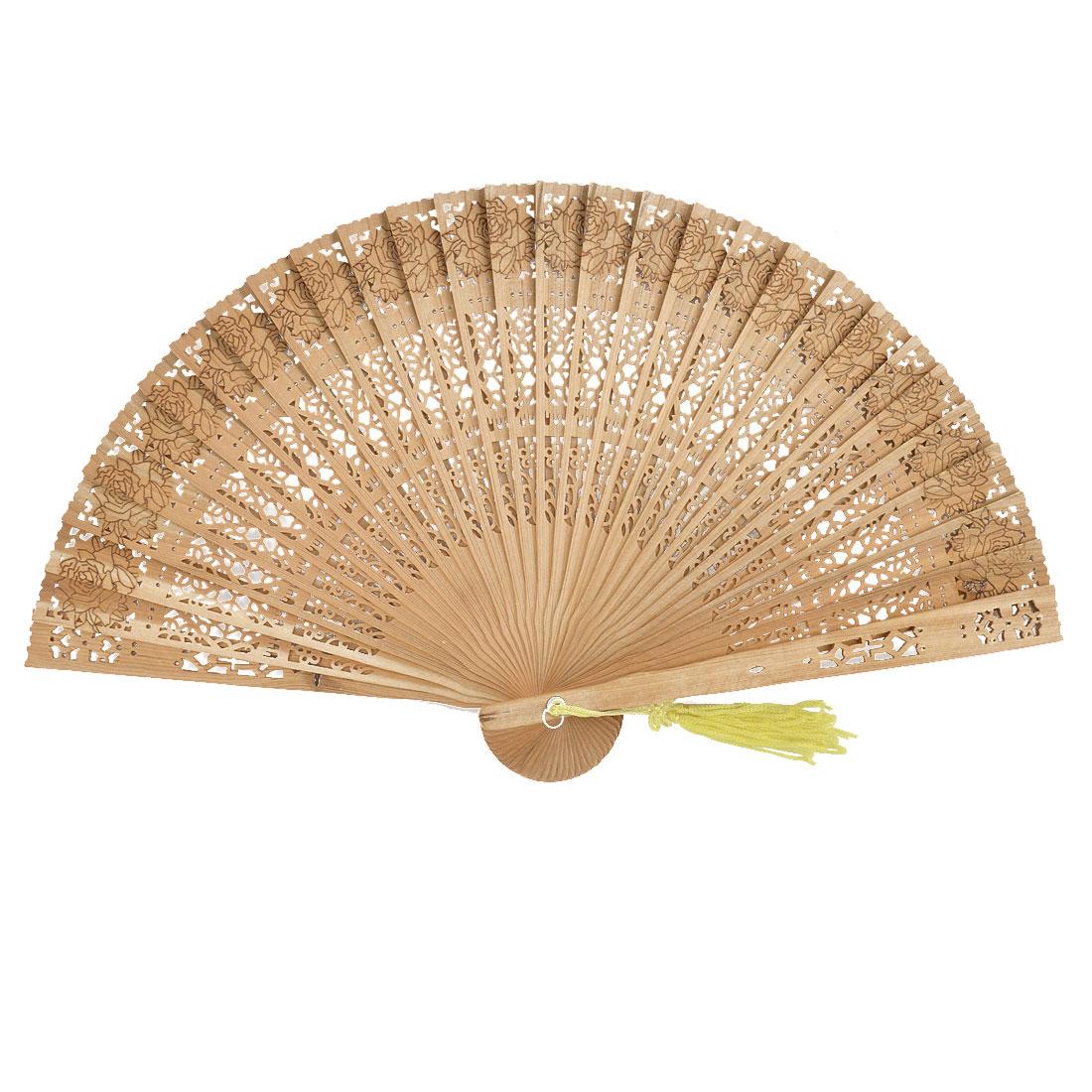 Woman Summer Wood Vintage Retro Style Flower Design Tassel Pendant Folding Hand Fan