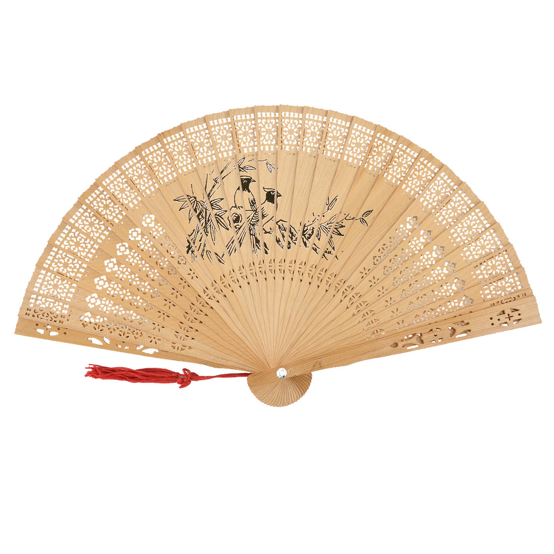 Ladies Summer Wood Vintage Retro Style Printing Design Tassel Pendant Folding Hand Fan