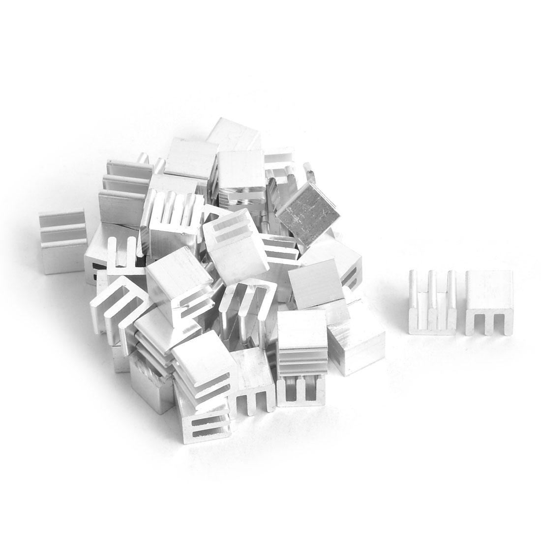 Aluminium Heat Diffusion Cooling Fin Silver Tone 10mm x 10mm x 10mm 50 Pcs