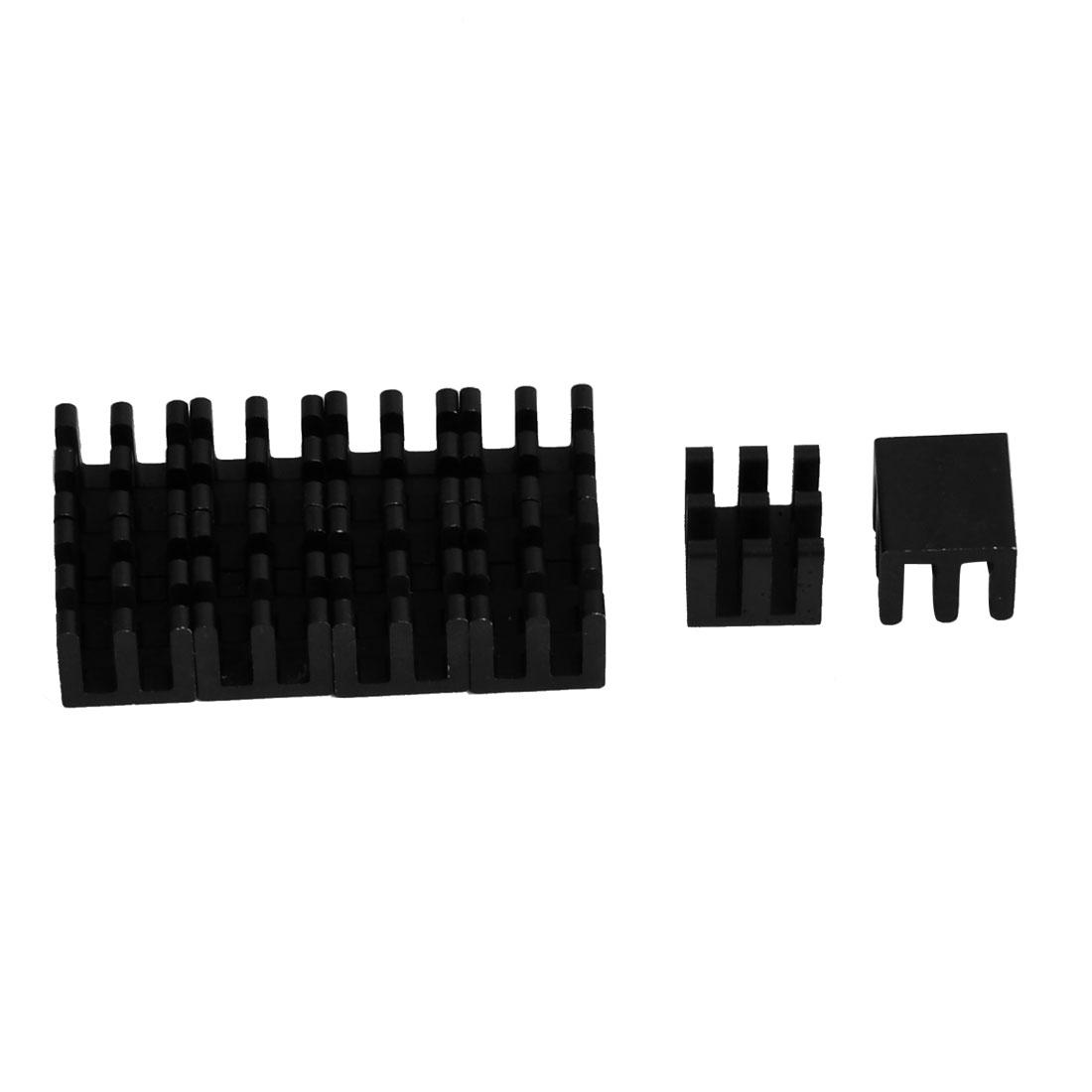Aluminium Heat Diffuse Cooling Fin Cooler Black 10mm x 10mm x 10mm 10 Pcs
