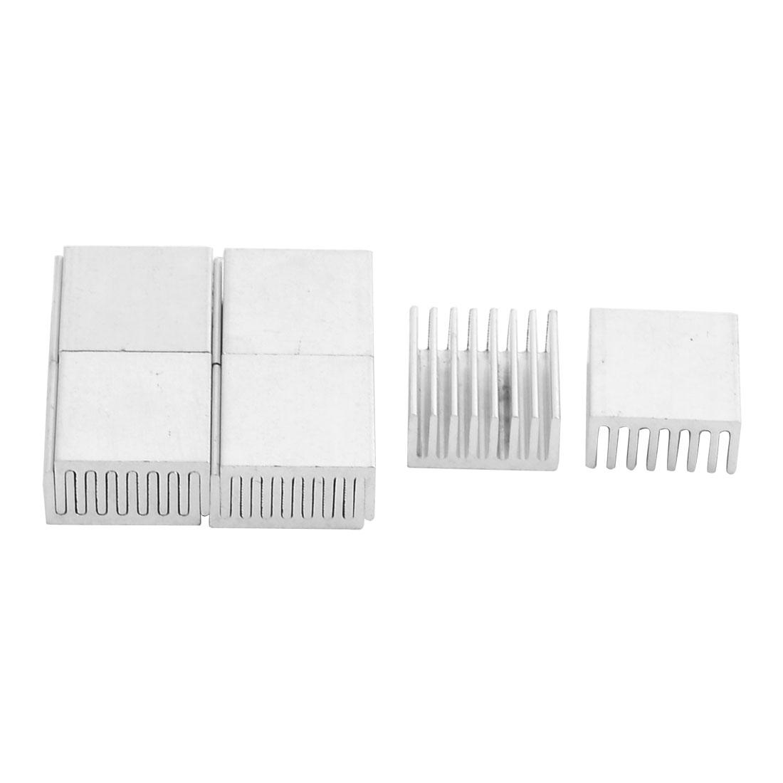 Aluminium Heat Diffuse Cooling Fin Cooler Silver Tone 20mm x 20mm x 10mm 10 Pcs