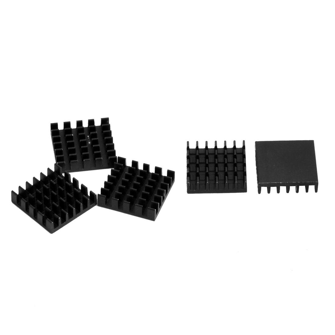 Aluminium Heat Diffuse Cooling Fin Cooler Black 19mm x 19mm x 5mm 5 Pcs