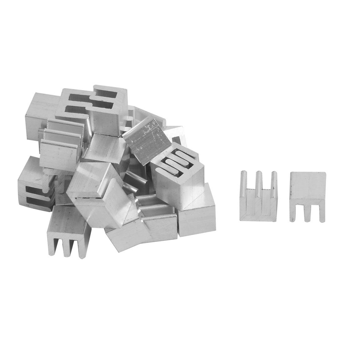 Aluminium Heatsink Cooling Fin Cooler Silver Tone 8mm x 8mm x 8.5mm 30 Pcs