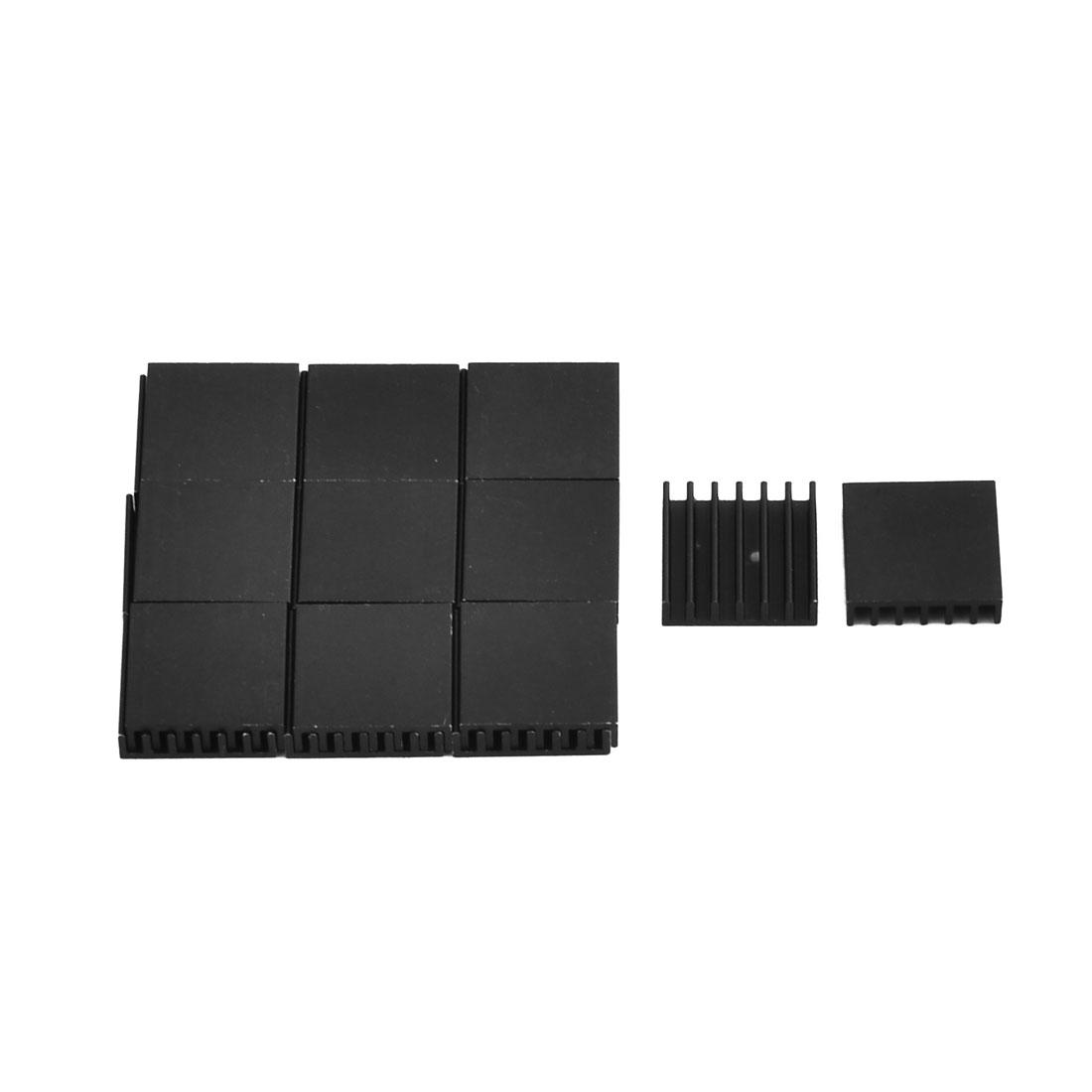 Aluminium Heat Diffuse Cooling Fin Heatsink Black 14.6mm x 14mm x 4mm 20 Pcs