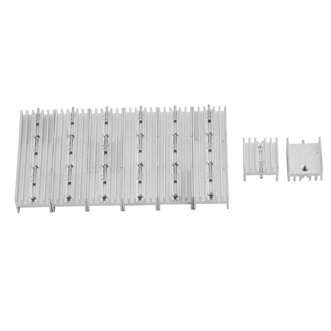 Aluminium Heat Diffuse Cooling Fin Cooler Silver Tone 15mm x 16mm x 10mm 20 Pcs
