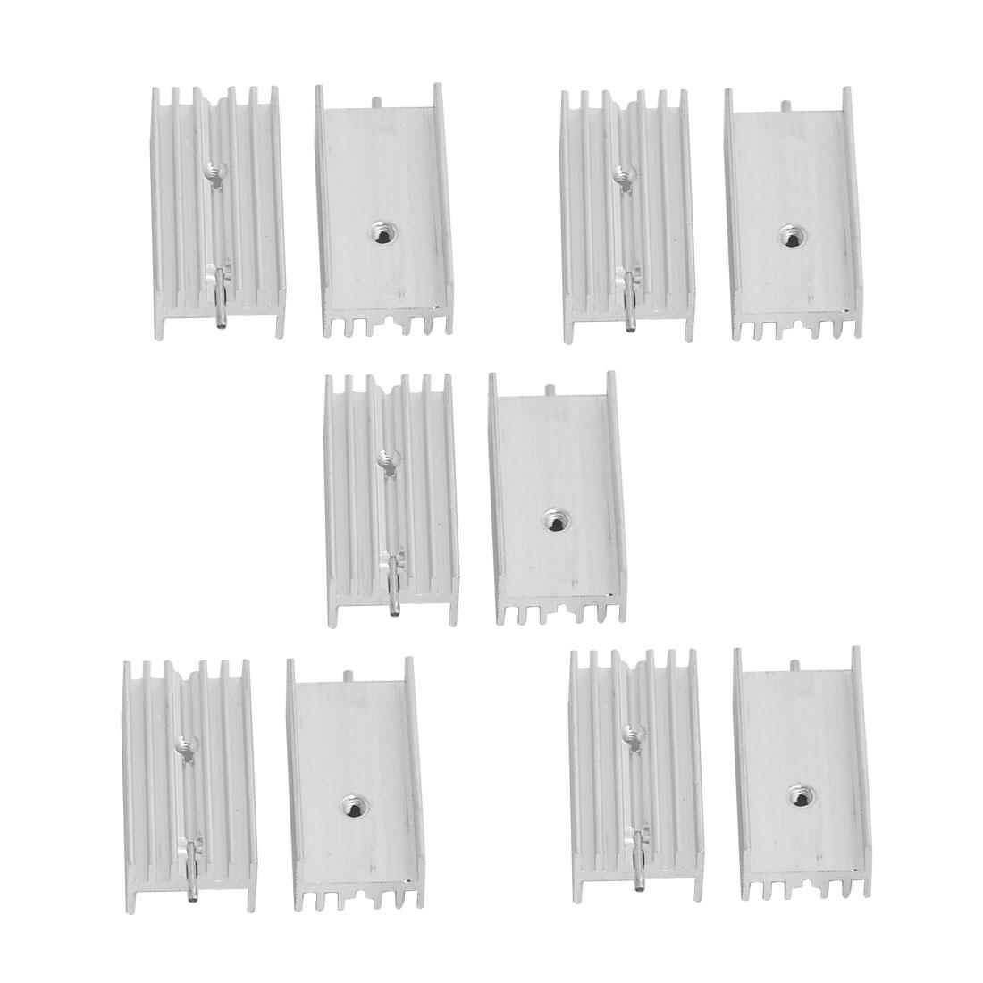 Aluminium Heatsink Cooling Fin Cooler Silver Tone 15mm x 30mm x 10mm 10 Pcs
