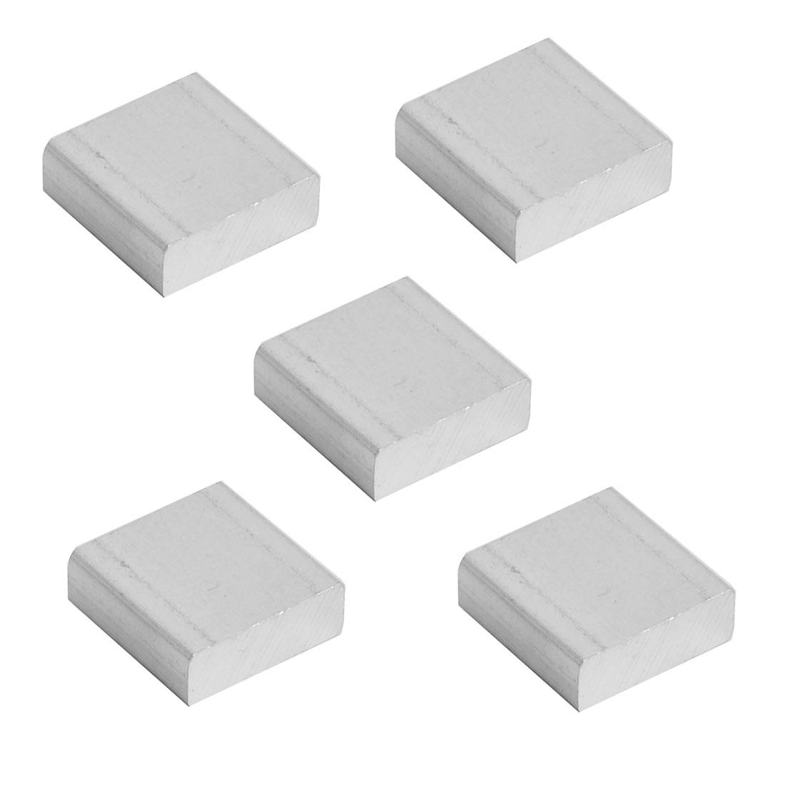 Aluminium Heatsink Cooling Fin Cooler Silver Tone 15mm x 15mm x 5mm 5 Pcs