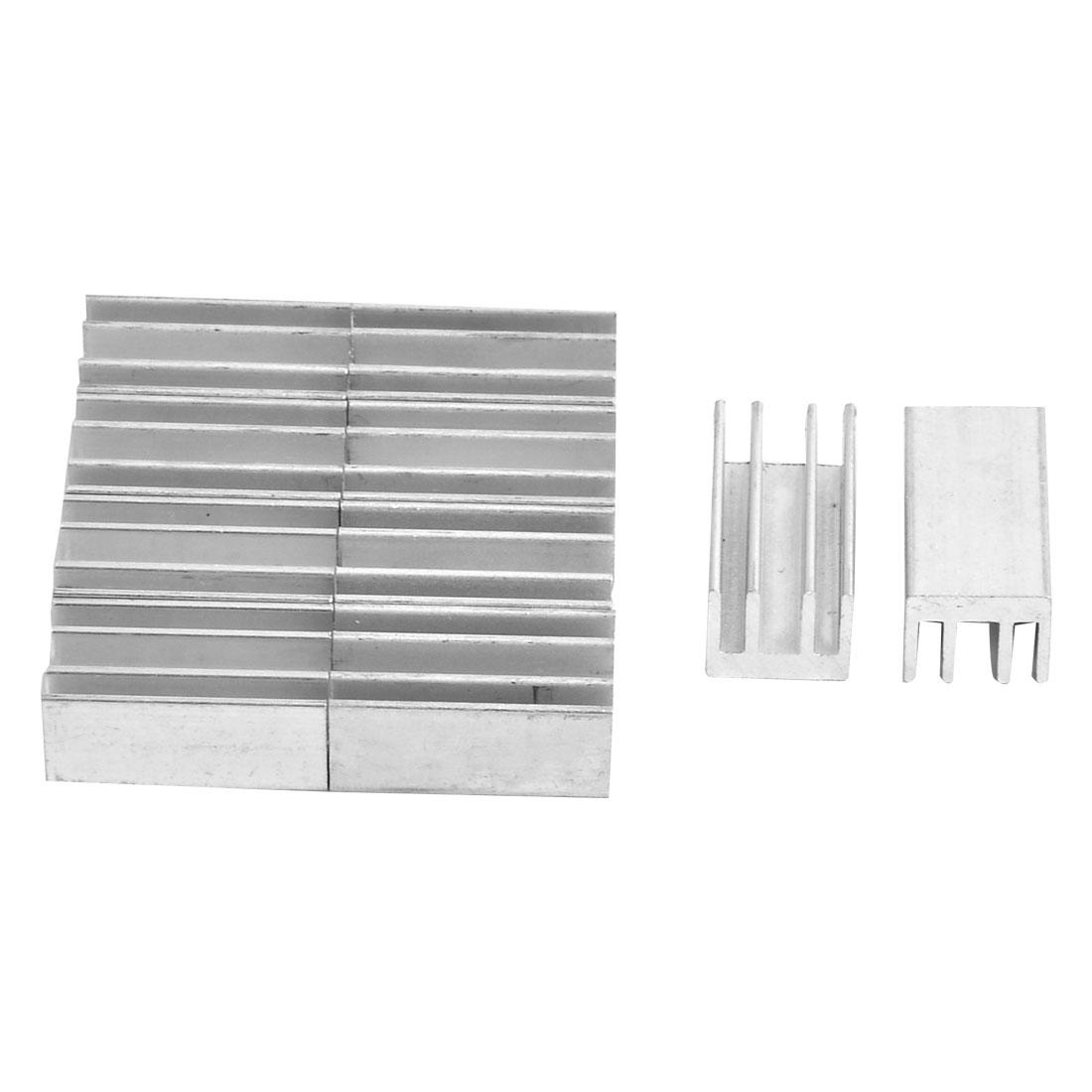 Aluminium Heatsink Cooling Fin Cooler Silver Tone 25mm x 13mm x 11mm 10 Pcs