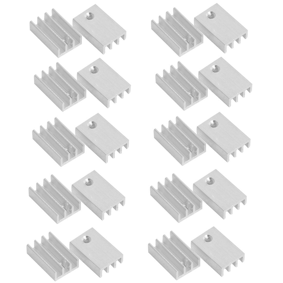 Aluminium Heatsink Cooling Fin Cooler Silver Tone 17mm x 11mm x 5mm 20 Pcs