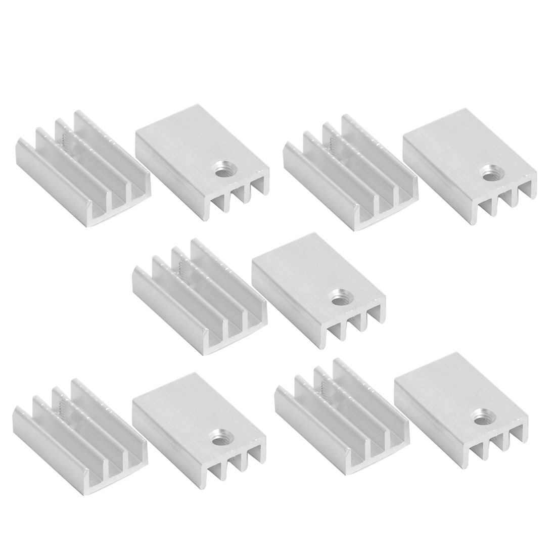 Aluminium Heatsink Cooling Fin Cooler Silver Tone 17mm x 11mm x 5mm 10 Pcs