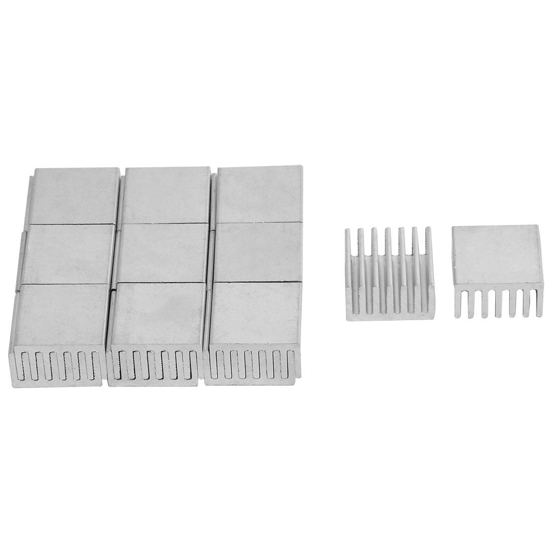Aluminium Heatsink Cooling Fin Cooler Silver Tone 18mm x 19mm x 10mm 20 Pcs