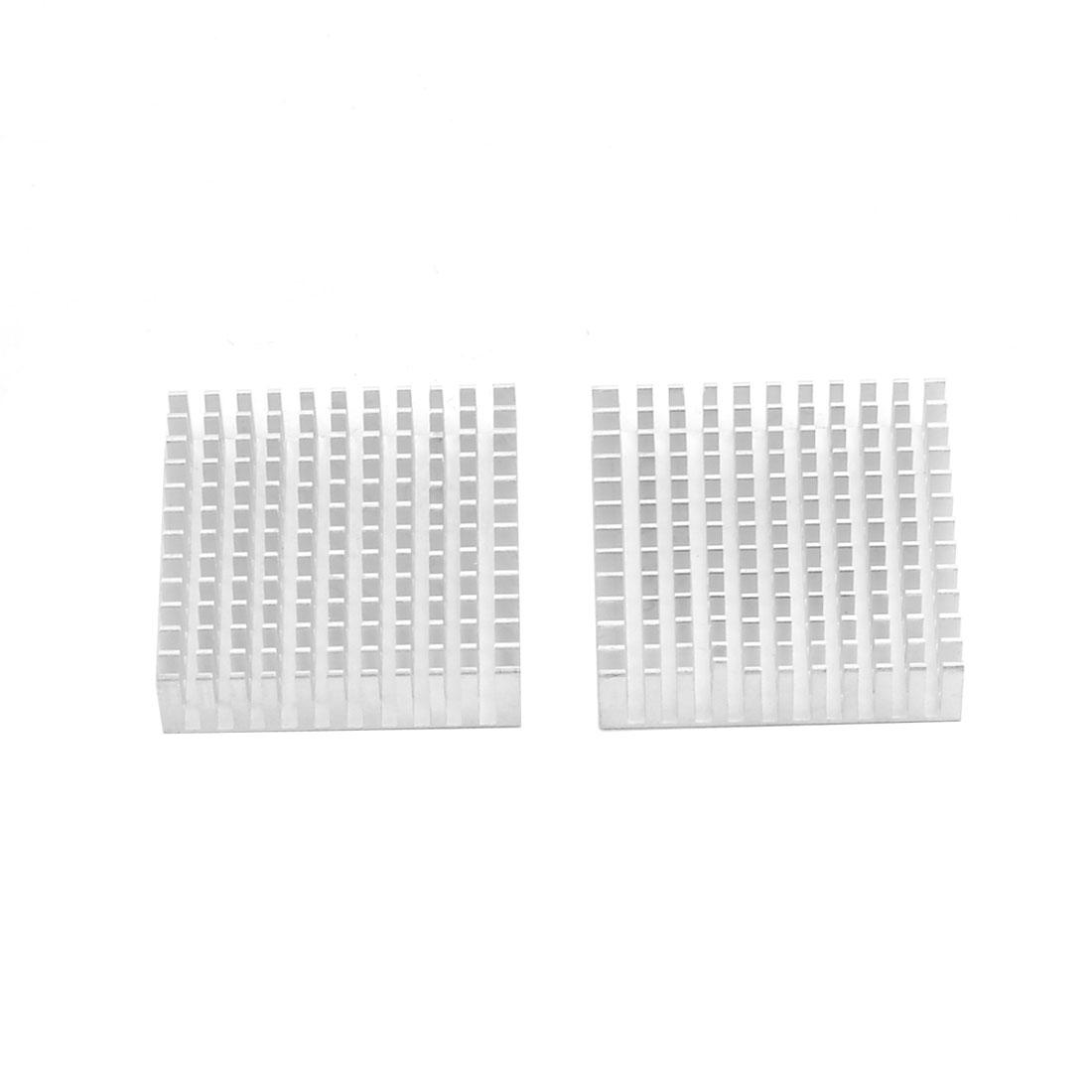 Aluminium Heat Diffuse Cooling Fin Cooler Silver Tone 40mm x 40mm x 11mm 2 Pcs