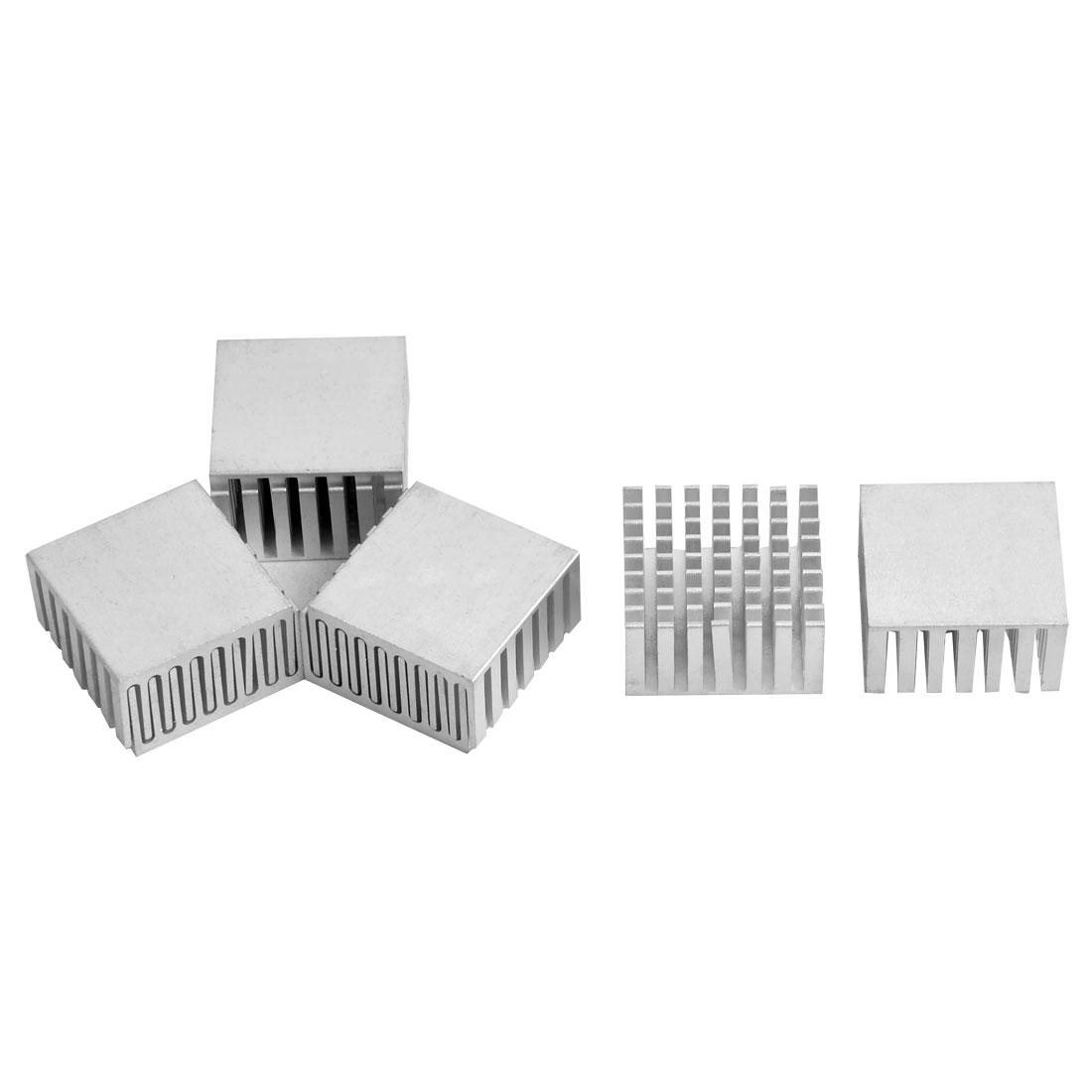 Aluminium Heat Diffuse Cooling Fin Cooler Silver Tone 28mm x 28mm x 15mm 8 Pcs