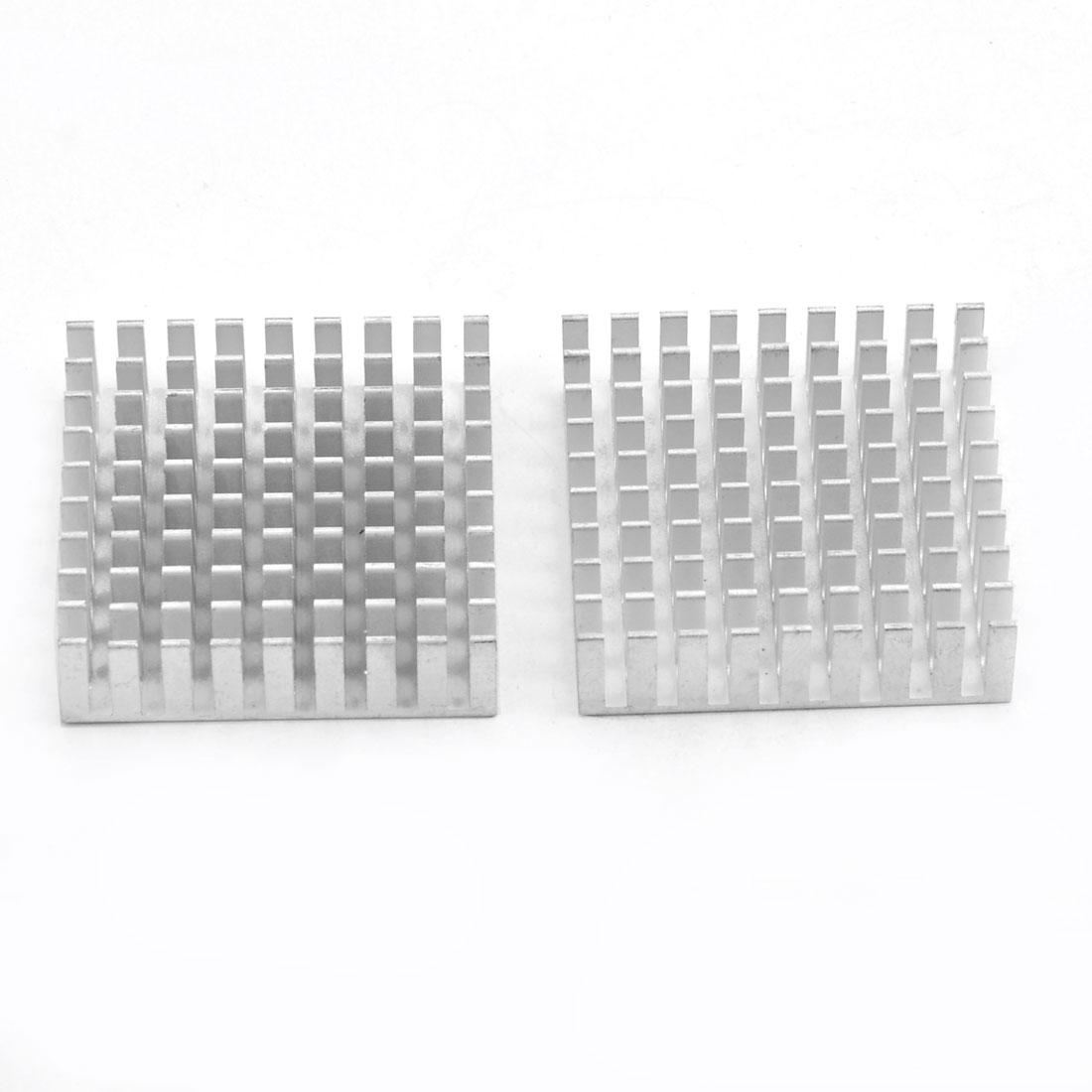 Aluminium Heatsink Cooling Fin Cooler Silver Tone 35mm x 35mm x 10mm 2 Pcs