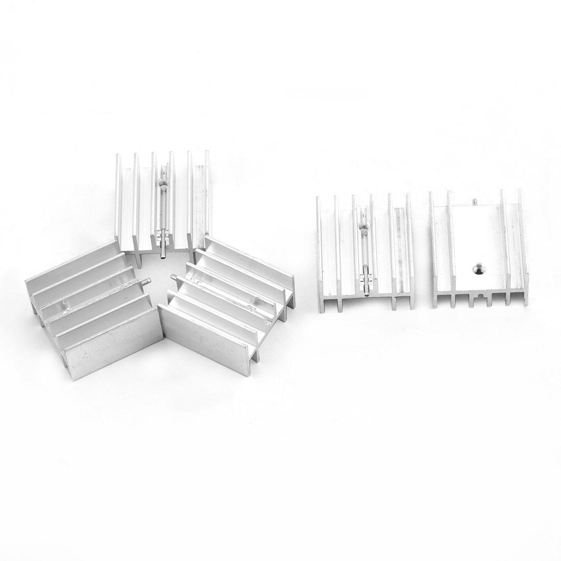 Aluminium Heatsink Cooling Fin Cooler Silver Tone 23.5mm x 25mm x 15mm 5 Pcs