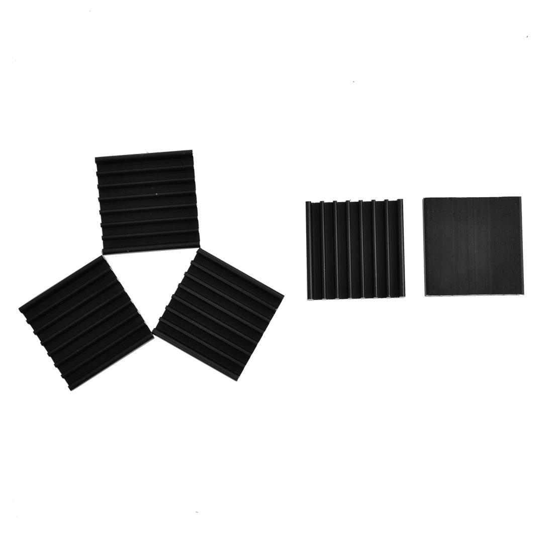 Aluminium Heat Diffuse Cooling Fin Cooler Black 25mm x 25mm x 5mm 5 Pcs