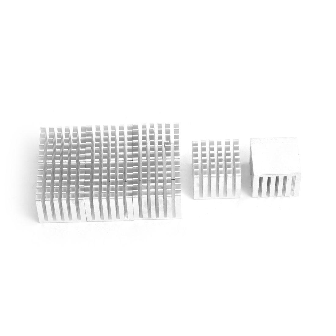 Aluminium Heat Diffuse Cooling Fin Cooler Silver Tone 25mm x 25mm x 20mm 8 Pcs