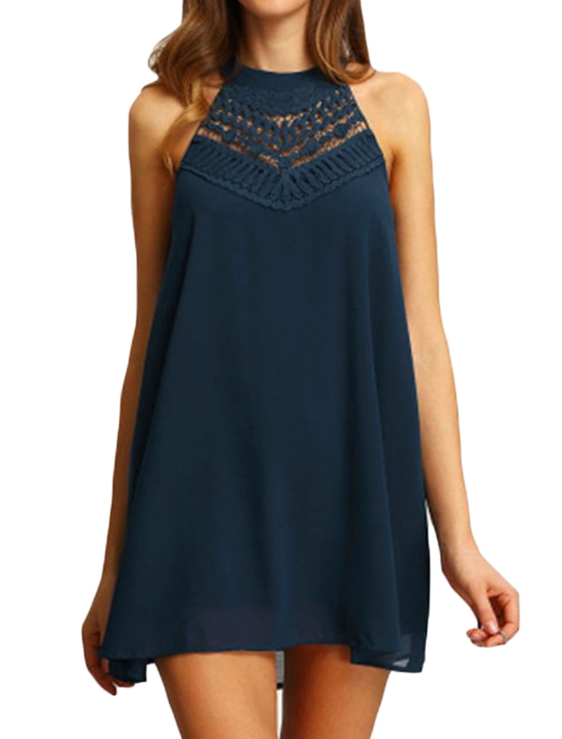 Women Halter Neck Sleeveless Crochet Lace Open Back Tunic Dress Blue M
