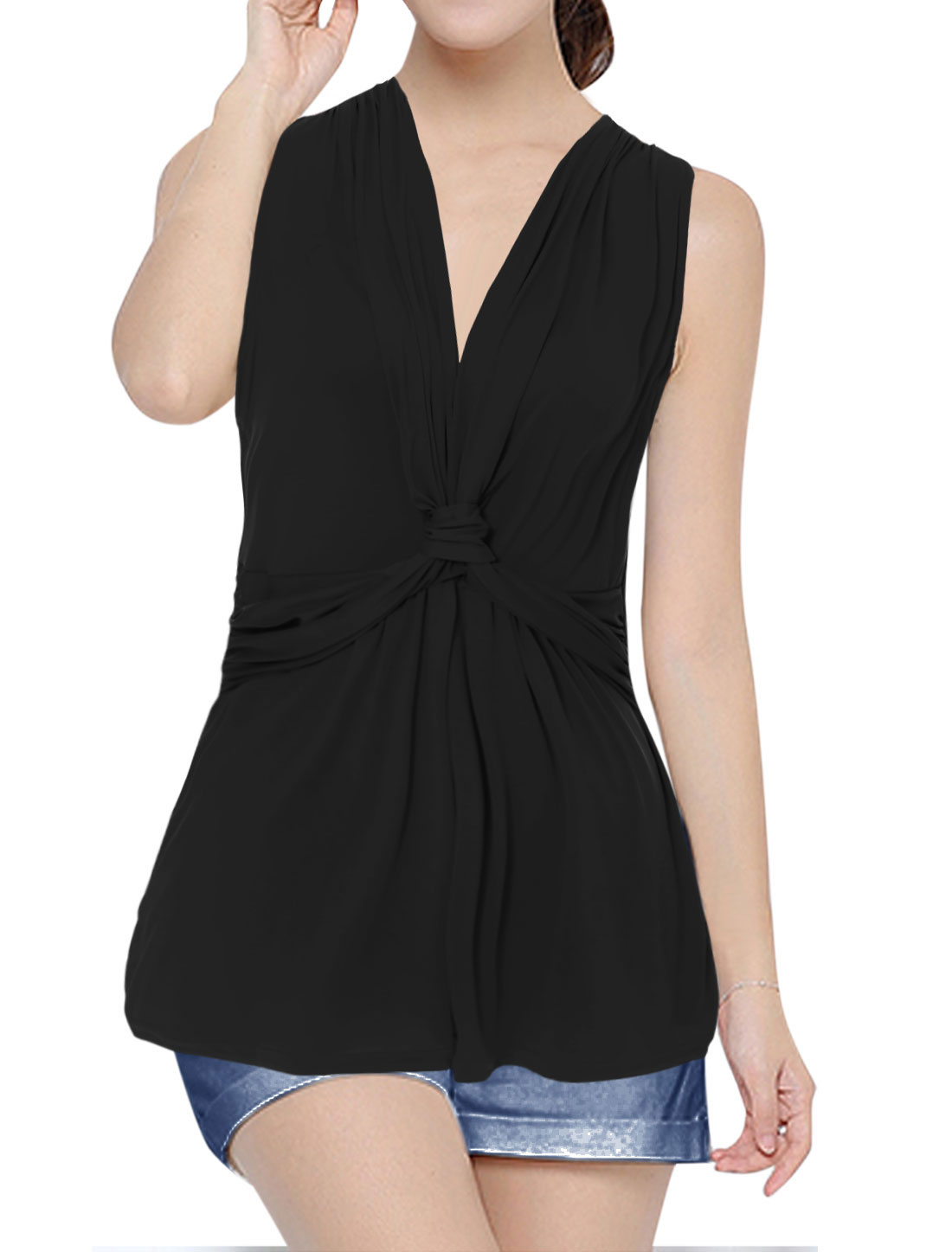 Women Sleeveless V Neck Ruched Shoulder Knot Front Top Black M