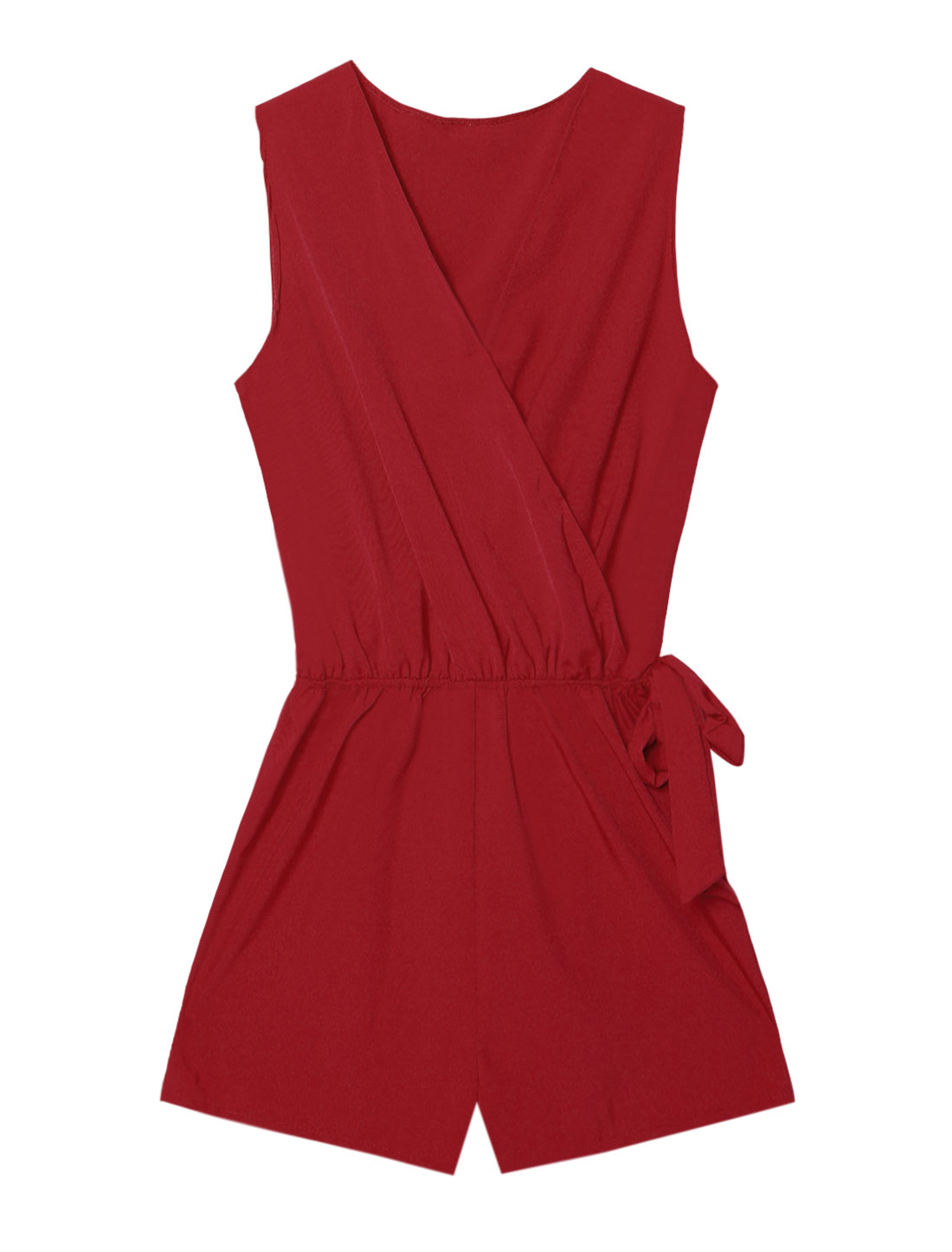 Women Crossover V Neck Self Tie Sleeveless Romper Red M