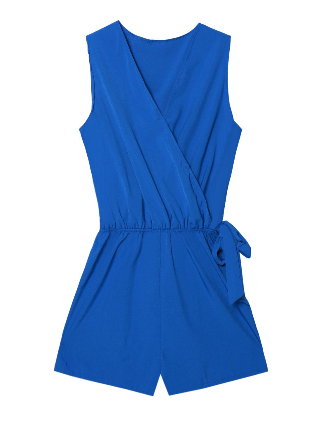 Women Crossover V Neck Self Tie Sleeveless Romper Blue M
