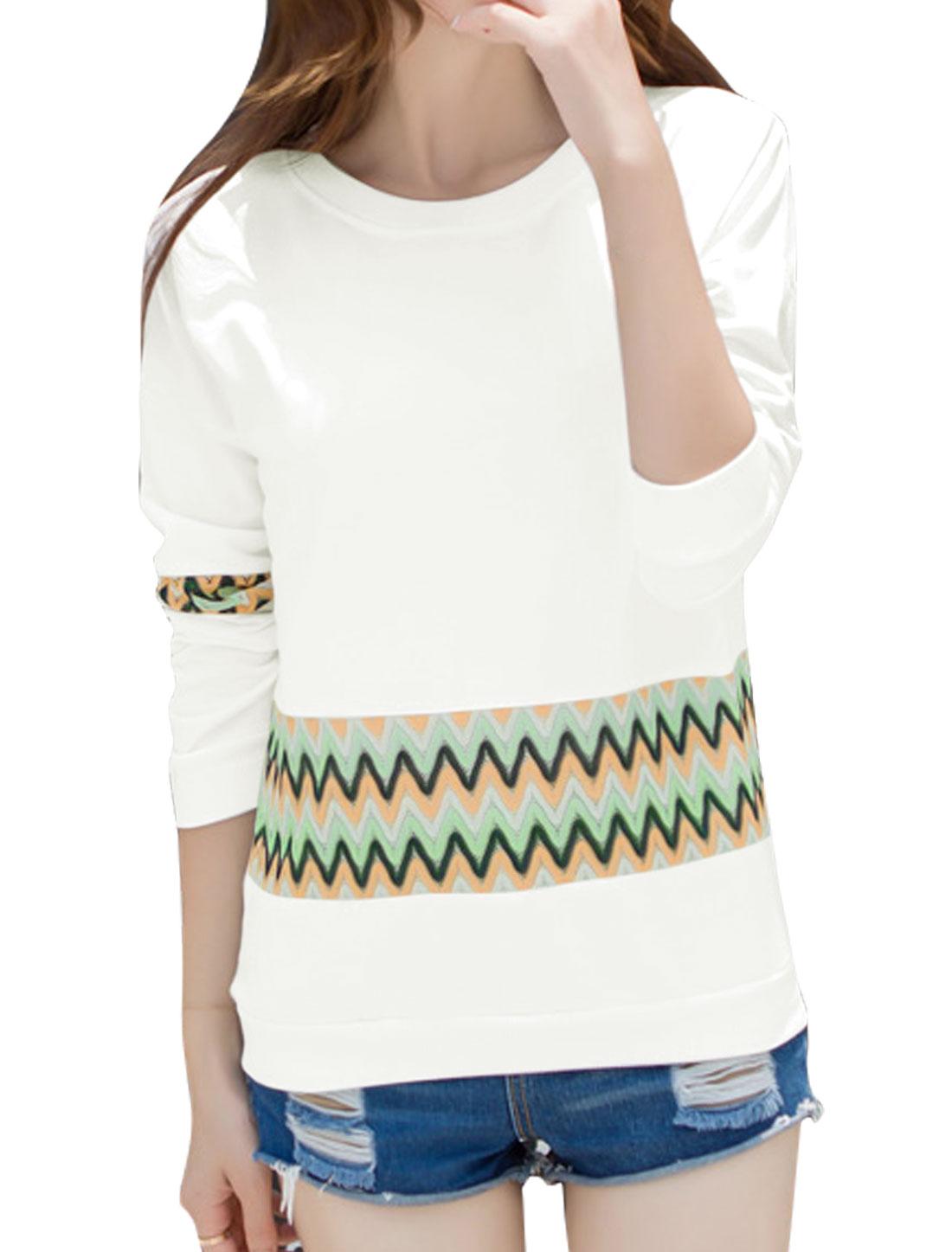 Women Long Sleeves Zig-zag Design Mesh Panel Sweatshirt White M