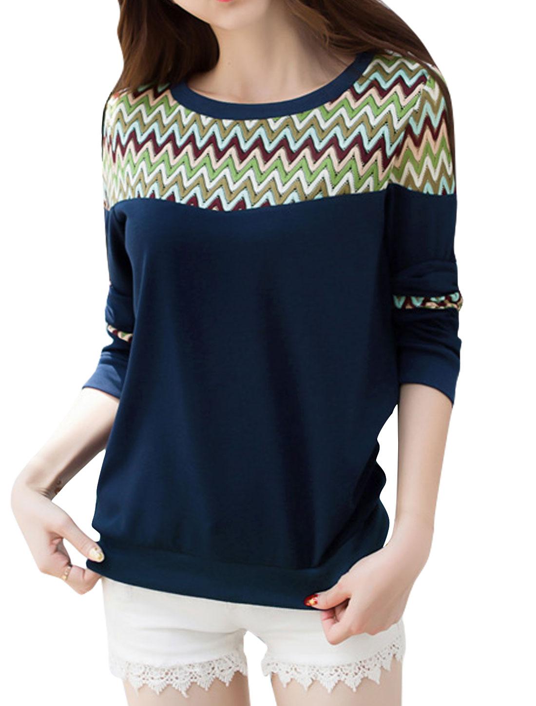 Women Round Neck Zig-zag Design Mesh Panel Sweatshirt Blue M