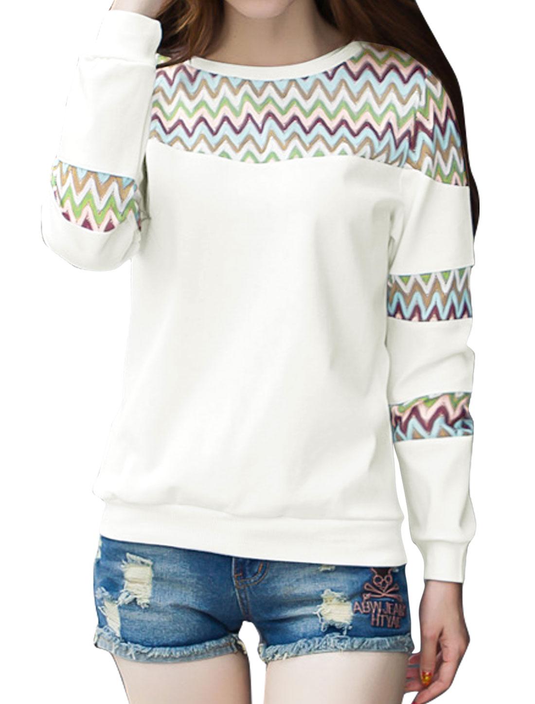 Women Round Neck Zig-zag Design Mesh Panel Sweatshirt White M