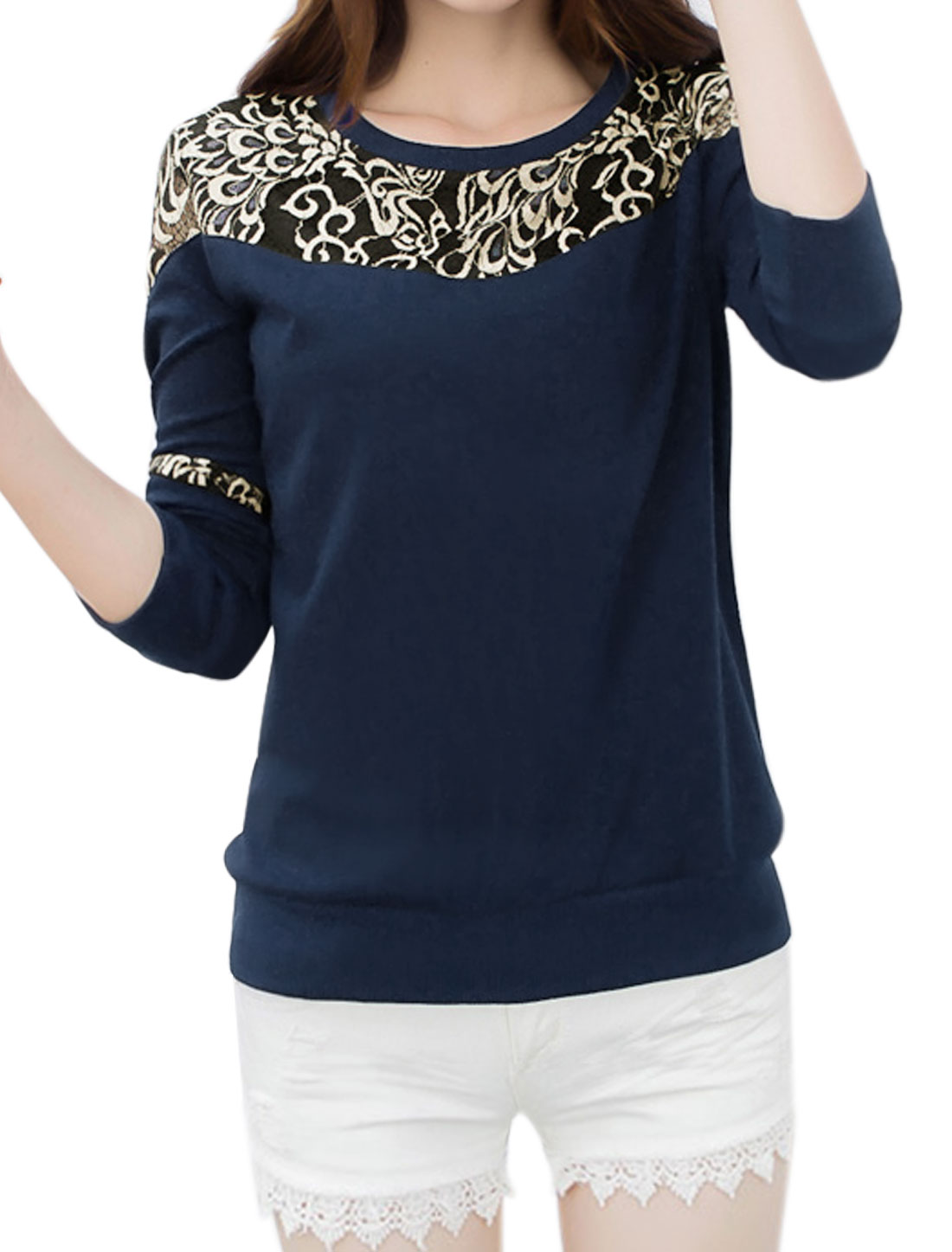 Women Lace Panel Novelty Design Long Sleeves Sweatshirt Blue M