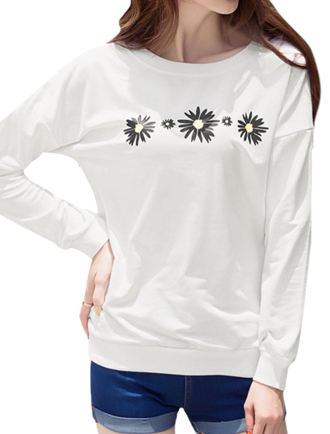 Women Long Sleeves Round Neck Floral Prints Sweatshirt White M