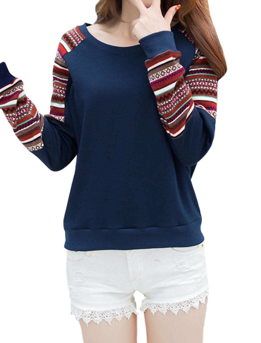 Women Geometric Striped Pattern Raglan Sleeves Paneled Sweatshirt Blue M